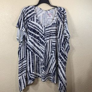 Woman Within Top Blouse Ivory Cream Black 4X 34/36